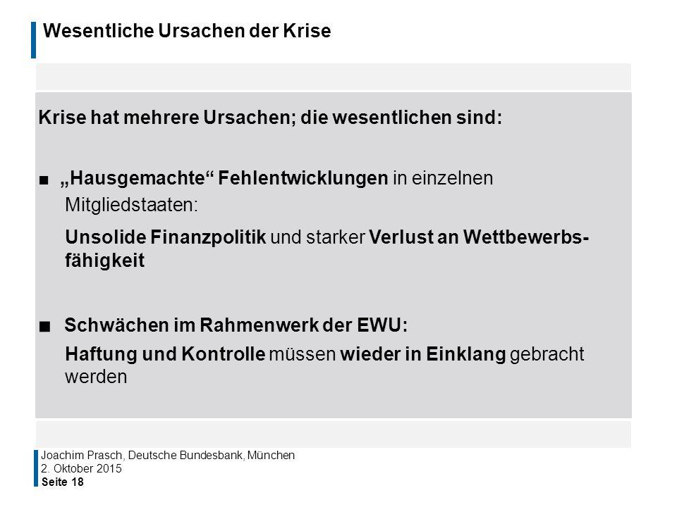 """Wesentliche Ursachen der Krise Seite 18 Joachim Prasch, Deutsche Bundesbank, München Krise hat mehrere Ursachen; die wesentlichen sind: ■ """"Hausgemacht"""