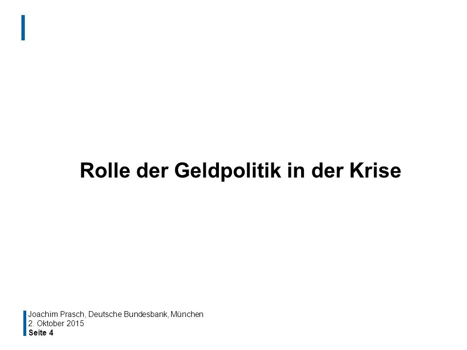 Seite 4 Rolle der Geldpolitik in der Krise Joachim Prasch, Deutsche Bundesbank, München 2. Oktober 2015
