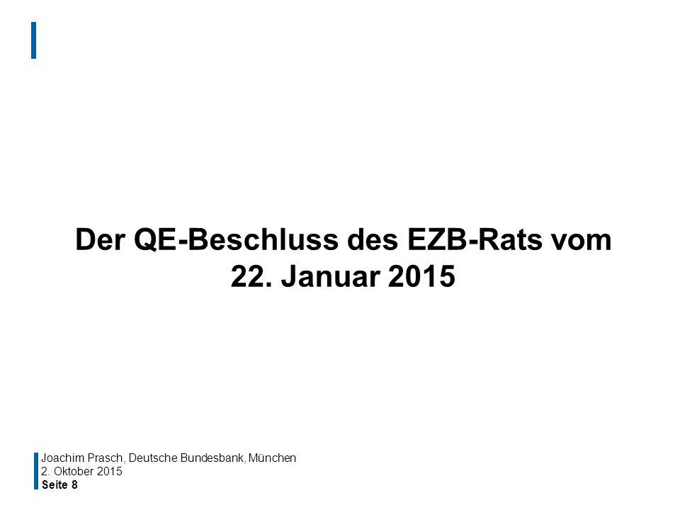 Seite 8 Der QE-Beschluss des EZB-Rats vom 22. Januar 2015 Joachim Prasch, Deutsche Bundesbank, München 2. Oktober 2015