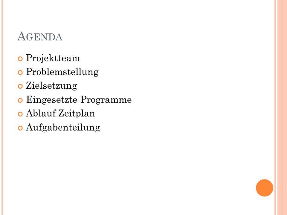 A GENDA Projektteam Problemstellung Zielsetzung Eingesetzte Programme Ablauf Zeitplan Aufgabenteilung