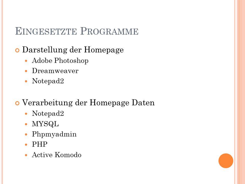 E INGESETZTE P ROGRAMME Darstellung der Homepage Adobe Photoshop Dreamweaver Notepad2 Verarbeitung der Homepage Daten Notepad2 MYSQL Phpmyadmin PHP Active Komodo