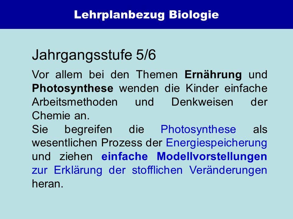 Lehrplanbezug Biologie Jahrgangsstufe 5/6 Vor allem bei den Themen Ernährung und Photosynthese wenden die Kinder einfache Arbeitsmethoden und Denkweis