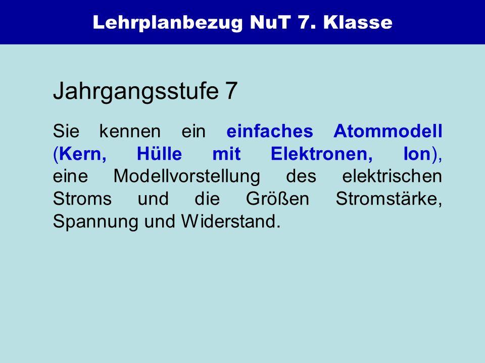 Lehrplanbezug NuT 7. Klasse Jahrgangsstufe 7 Sie kennen ein einfaches Atommodell (Kern, Hülle mit Elektronen, Ion), eine Modellvorstellung des elektri