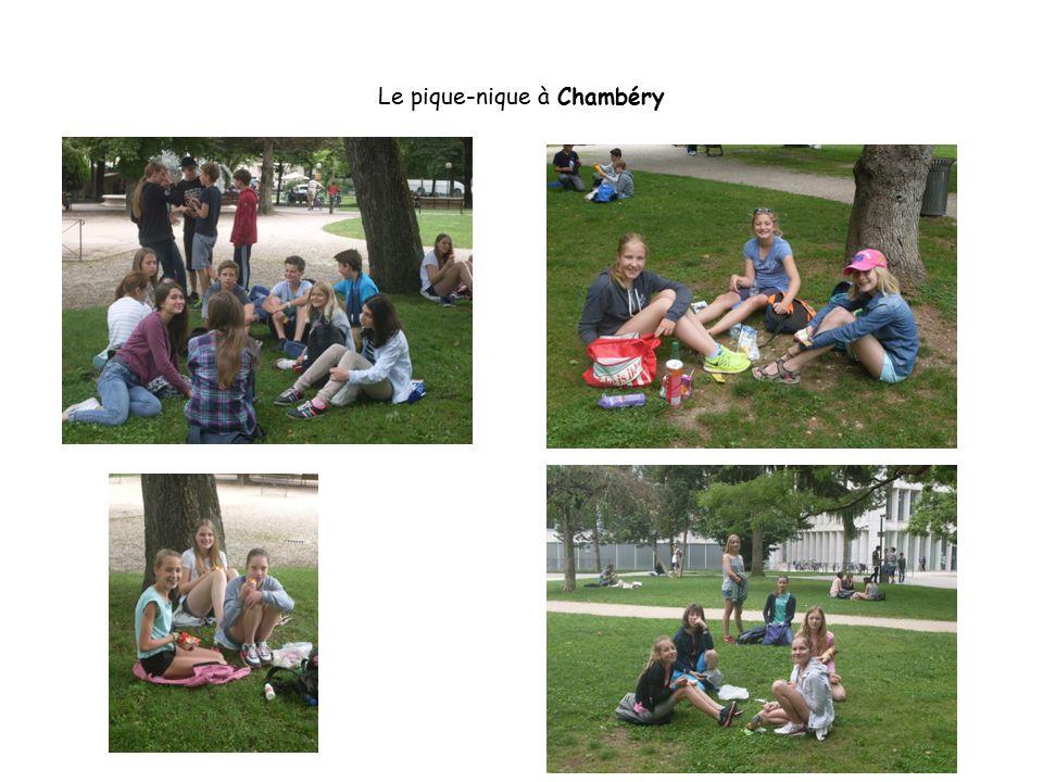 Une belle photo de groupe – ein schönes Gruppenfoto vor dem Glockenspiel am Schloss von Chambéry