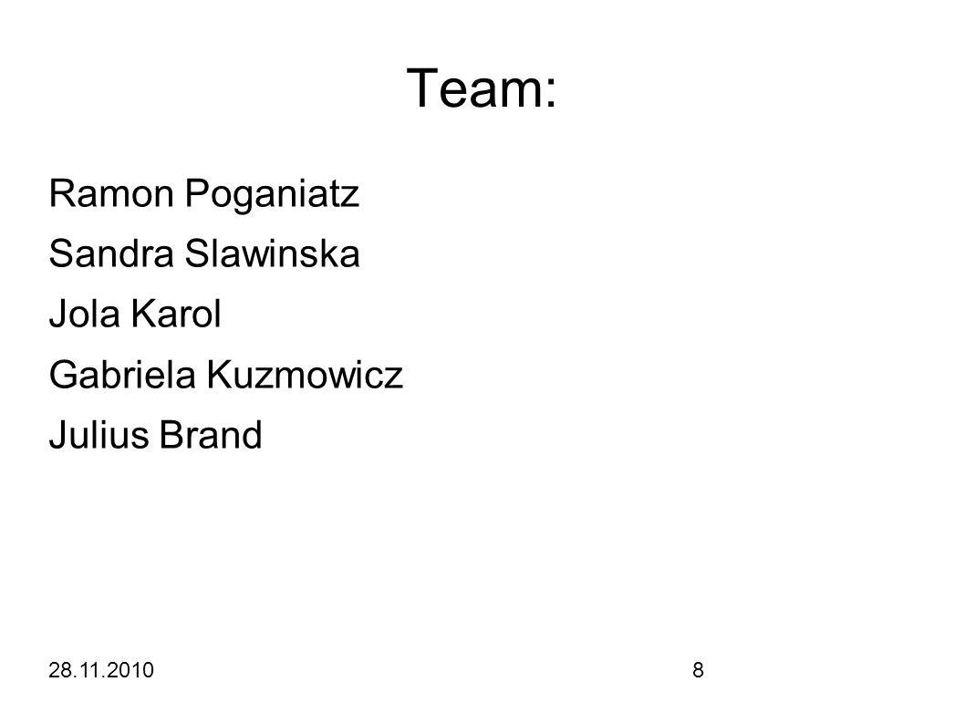 28.11.20108 Team: Ramon Poganiatz Sandra Slawinska Jola Karol Gabriela Kuzmowicz Julius Brand