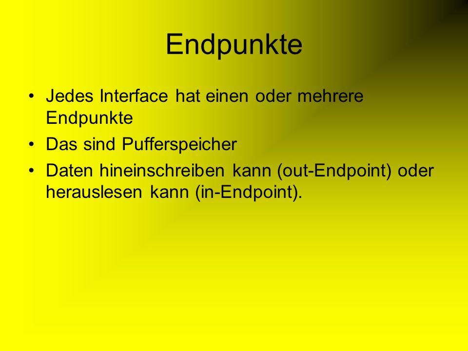 Endpunkte Jedes Interface hat einen oder mehrere Endpunkte Das sind Pufferspeicher Daten hineinschreiben kann (out-Endpoint) oder herauslesen kann (in-Endpoint).