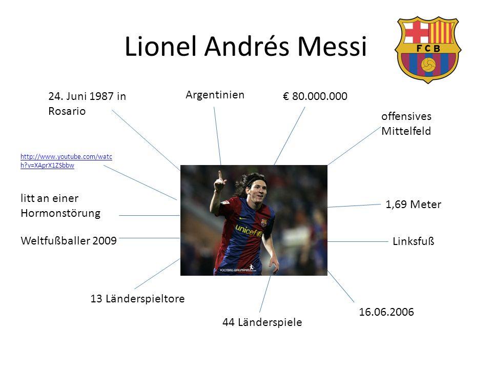Lionel Andrés Messi 24. Juni 1987 in Rosario Argentinien € 80.000.000 offensives Mittelfeld 1,69 Meter Linksfuß 16.06.2006 44 Länderspiele 13 Ländersp