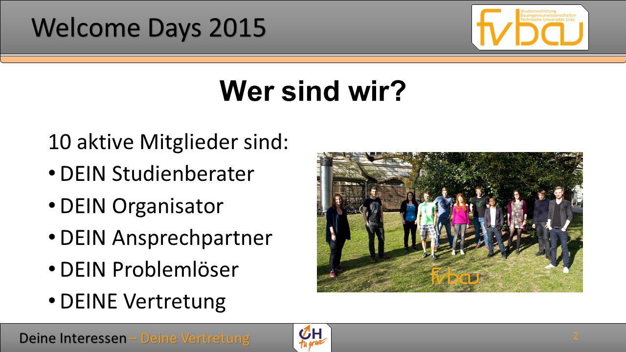 Deine Interessen – Deine Vertretung Deine Interessen – Deine Vertretung Welcome Days 2015 Welcome Days 2015 Was machen wir.