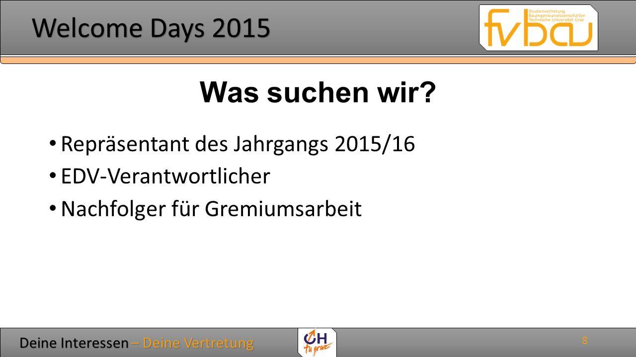 Deine Interessen – Deine Vertretung Deine Interessen – Deine Vertretung Welcome Days 2015 Welcome Days 2015 ERSTSEMESTER TUTORIUM 9