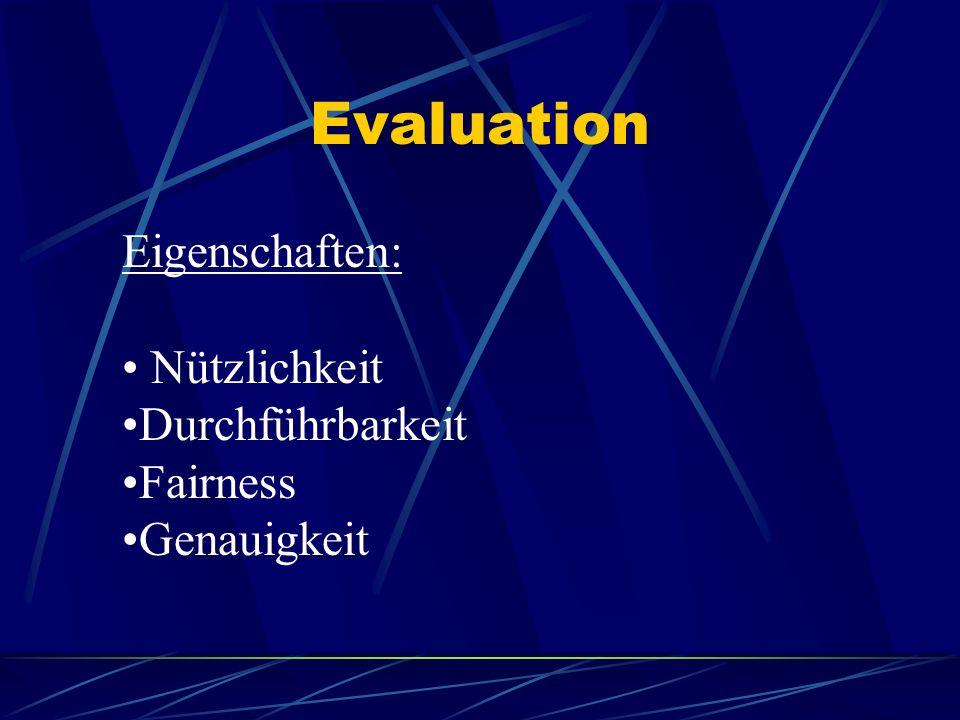 Evaluation Eigenschaften: Nützlichkeit Durchführbarkeit Fairness Genauigkeit