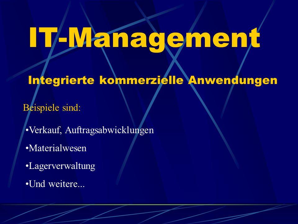 IT-Management Integrierte kommerzielle Anwendungen Beispiele sind: Verkauf, Auftragsabwicklungen Materialwesen Lagerverwaltung Und weitere...