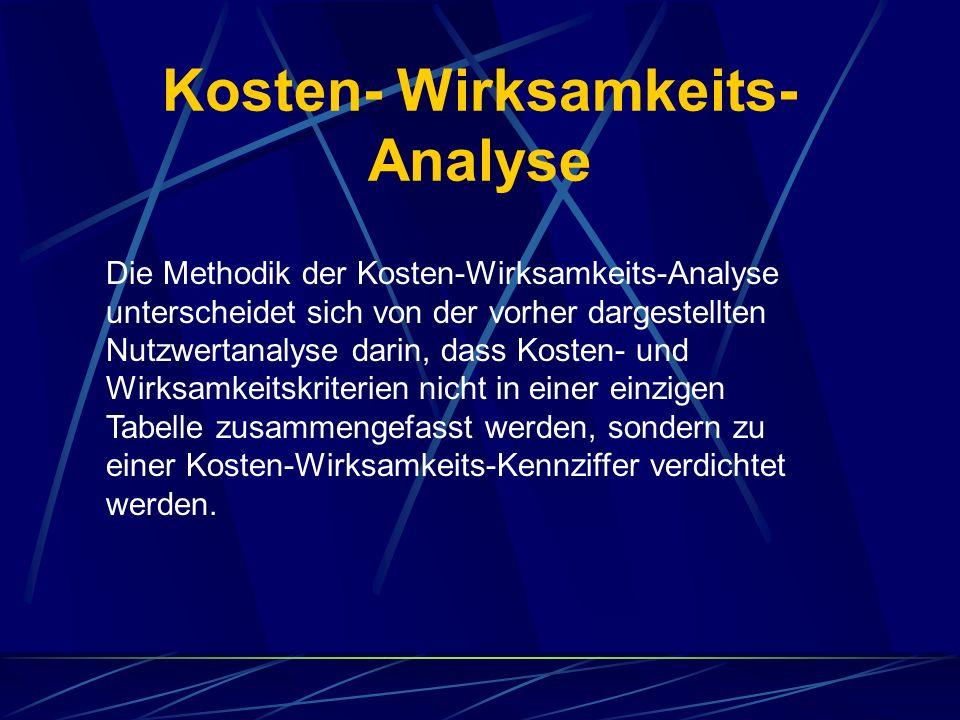 Kosten- Wirksamkeits- Analyse Die Methodik der Kosten-Wirksamkeits-Analyse unterscheidet sich von der vorher dargestellten Nutzwertanalyse darin, dass Kosten- und Wirksamkeitskriterien nicht in einer einzigen Tabelle zusammengefasst werden, sondern zu einer Kosten-Wirksamkeits-Kennziffer verdichtet werden.