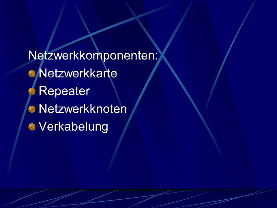 Netzwerkkomponenten: Netzwerkkarte Repeater Netzwerkknoten Verkabelung