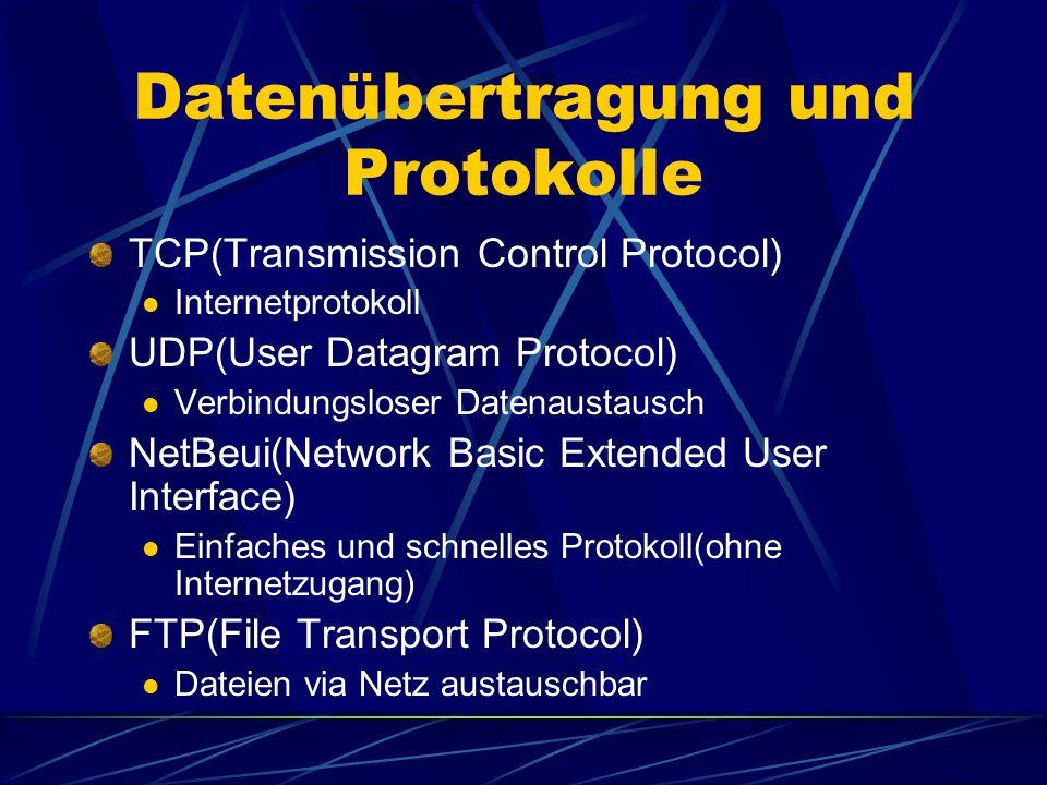 Datenübertragung und Protokolle TCP(Transmission Control Protocol) Internetprotokoll UDP(User Datagram Protocol) Verbindungsloser Datenaustausch NetBeui(Network Basic Extended User Interface) Einfaches und schnelles Protokoll(ohne Internetzugang) FTP(File Transport Protocol) Dateien via Netz austauschbar