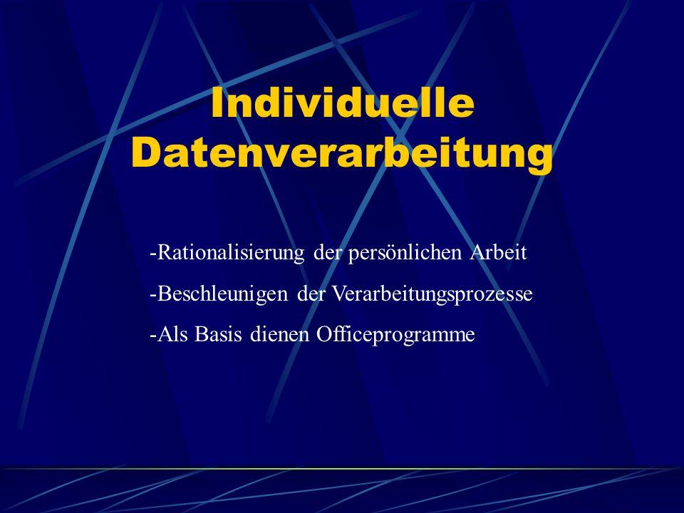 Individuelle Datenverarbeitung -Rationalisierung der persönlichen Arbeit -Beschleunigen der Verarbeitungsprozesse -Als Basis dienen Officeprogramme
