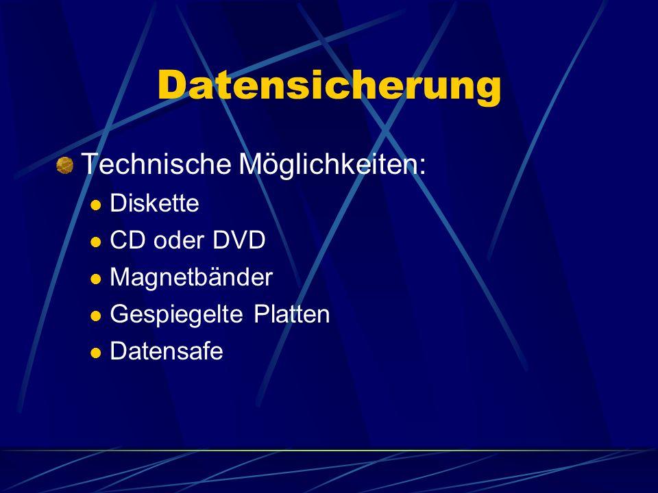 Datensicherung Technische Möglichkeiten: Diskette CD oder DVD Magnetbänder Gespiegelte Platten Datensafe