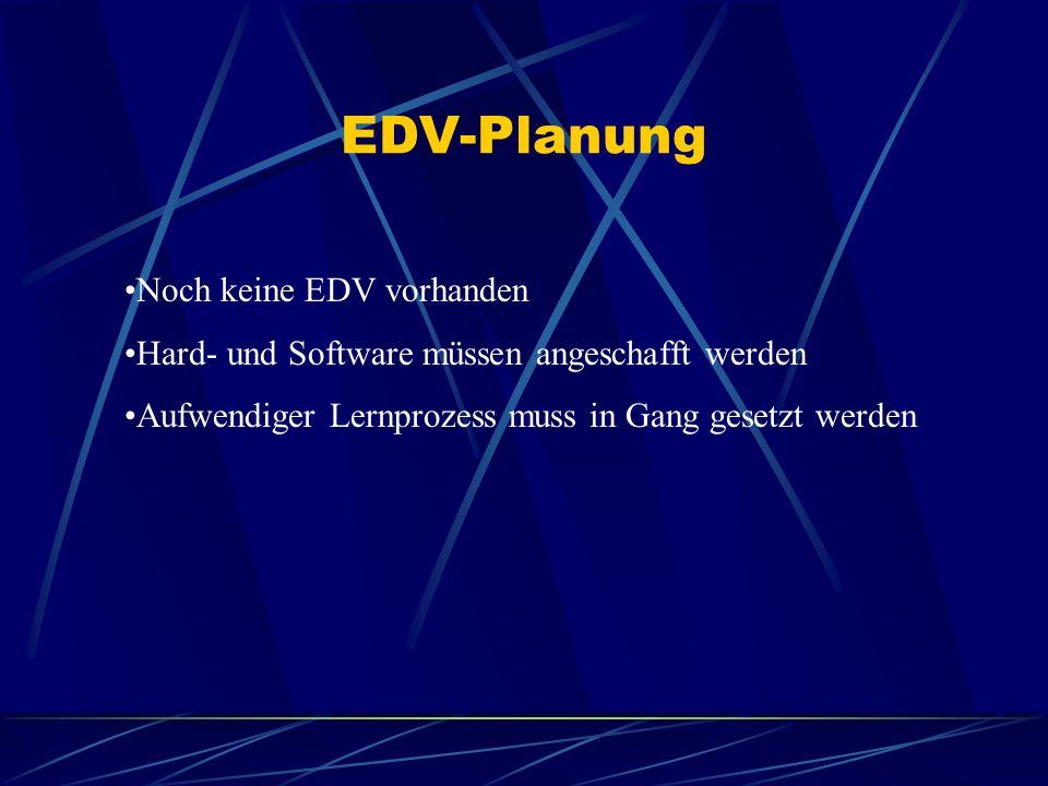 EDV-Planung Noch keine EDV vorhanden Hard- und Software müssen angeschafft werden Aufwendiger Lernprozess muss in Gang gesetzt werden