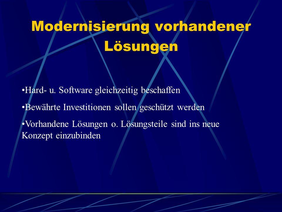Modernisierung vorhandener Lösungen Hard- u. Software gleichzeitig beschaffen Bewährte Investitionen sollen geschützt werden Vorhandene Lösungen o. Lö
