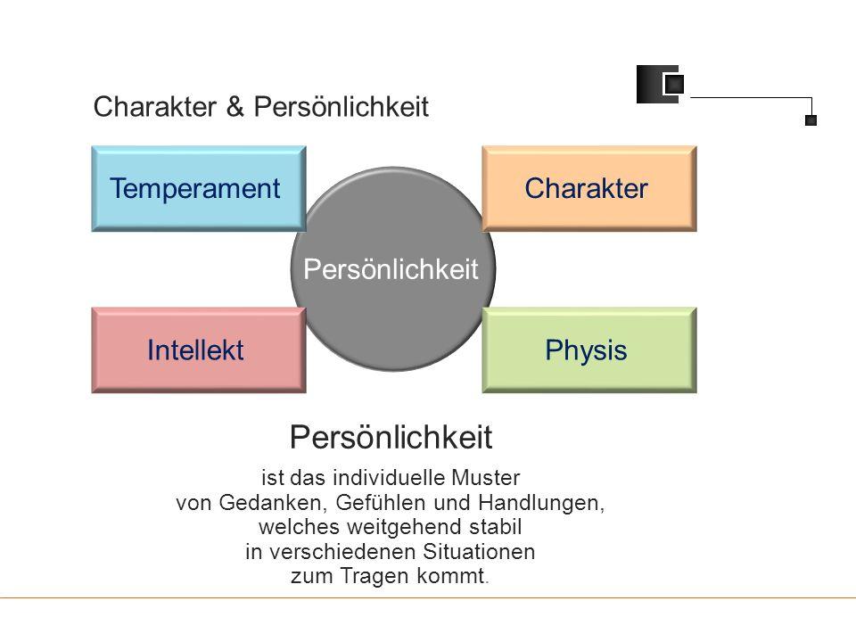 Charakter & Persönlichkeit Persönlichkeit TemperamentCharakter PhysisIntellekt Persönlichkeit ist das individuelle Muster von Gedanken, Gefühlen und H