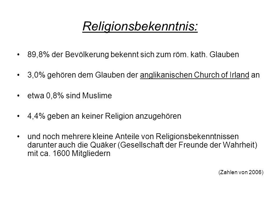 Religionsbekenntnis: 89,8% der Bevölkerung bekennt sich zum röm. kath. Glauben 3,0% gehören dem Glauben der anglikanischen Church of Irland an etwa 0,