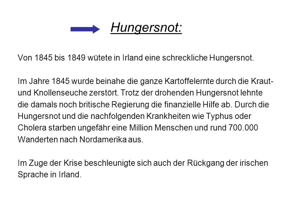 Hungersnot: Von 1845 bis 1849 wütete in Irland eine schreckliche Hungersnot. Im Jahre 1845 wurde beinahe die ganze Kartoffelernte durch die Kraut- und