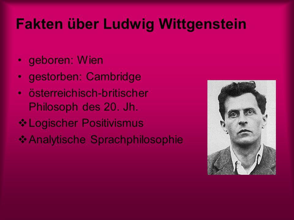 Lebensgeschichte Wittgenstein war das jüngste von 8 Kindern reiches Elternhaus: Mama Leopoldine und Vater Karl Kultur und Musik interessierte Familie