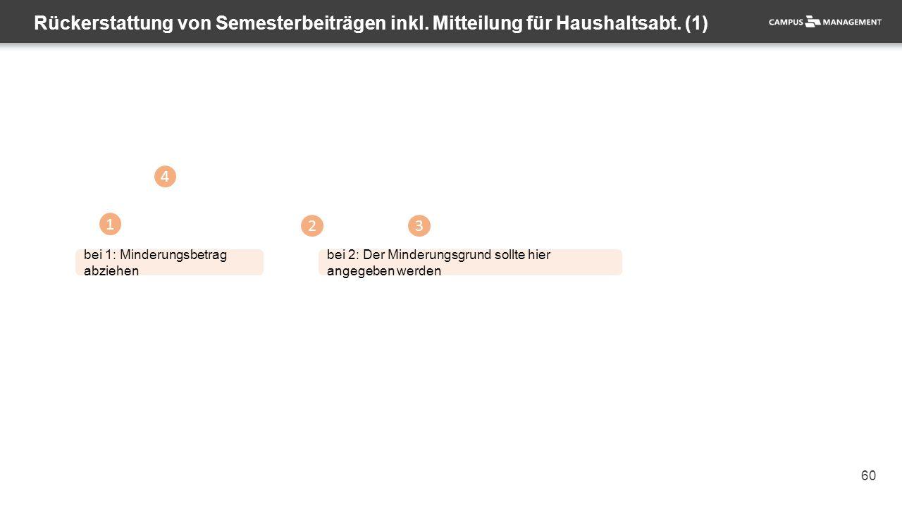 60 Rückerstattung von Semesterbeiträgen inkl.Mitteilung für Haushaltsabt.