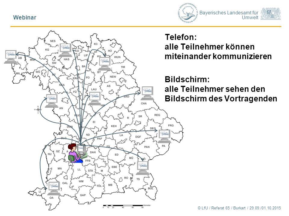 Bayerisches Landesamt für Umwelt © LfU / Referat 65 / Burkart / 29.09./01.10.2015 Webinar 3 Telefon: alle Teilnehmer können miteinander kommunizieren Bildschirm: alle Teilnehmer sehen den Bildschirm des Vortragenden