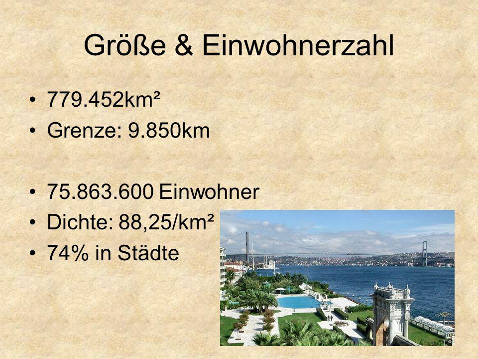 Größe & Einwohnerzahl 779.452km² Grenze: 9.850km 75.863.600 Einwohner Dichte: 88,25/km² 74% in Städte