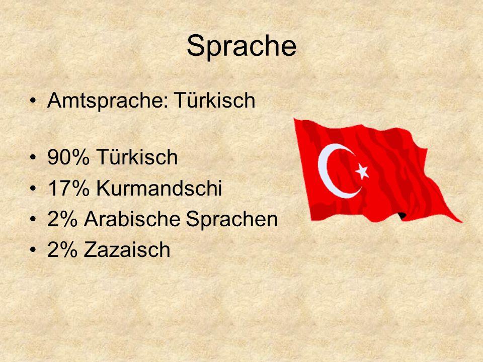 Sprache Amtsprache: Türkisch 90% Türkisch 17% Kurmandschi 2% Arabische Sprachen 2% Zazaisch