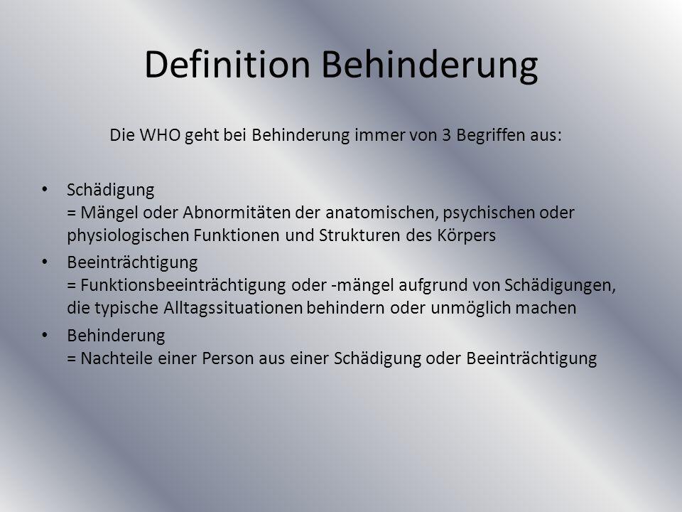Definition Behinderung Die WHO geht bei Behinderung immer von 3 Begriffen aus: Schädigung = Mängel oder Abnormitäten der anatomischen, psychischen ode