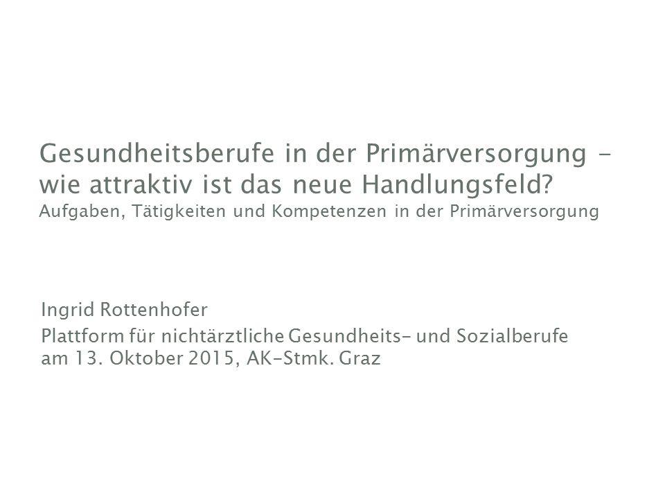 Ingrid Rottenhofer Plattform für nichtärztliche Gesundheits- und Sozialberufe am 13. Oktober 2015, AK-Stmk. Graz Gesundheitsberufe in der Primärversor