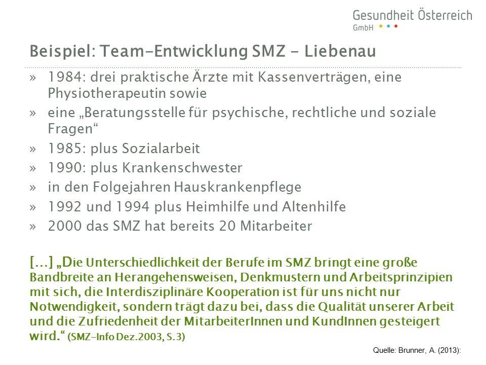 """Beispiel: Team-Entwicklung SMZ - Liebenau »1984: drei praktische Ärzte mit Kassenverträgen, eine Physiotherapeutin sowie »eine """"Beratungsstelle für ps"""