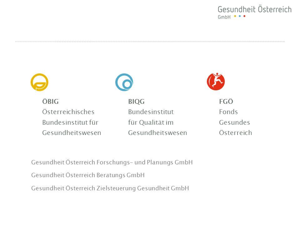 ÖBIG Österreichisches Bundesinstitut für Gesundheitswesen BIQG Bundesinstitut für Qualität im Gesundheitswesen FGÖ Fonds Gesundes Österreich Gesundhei