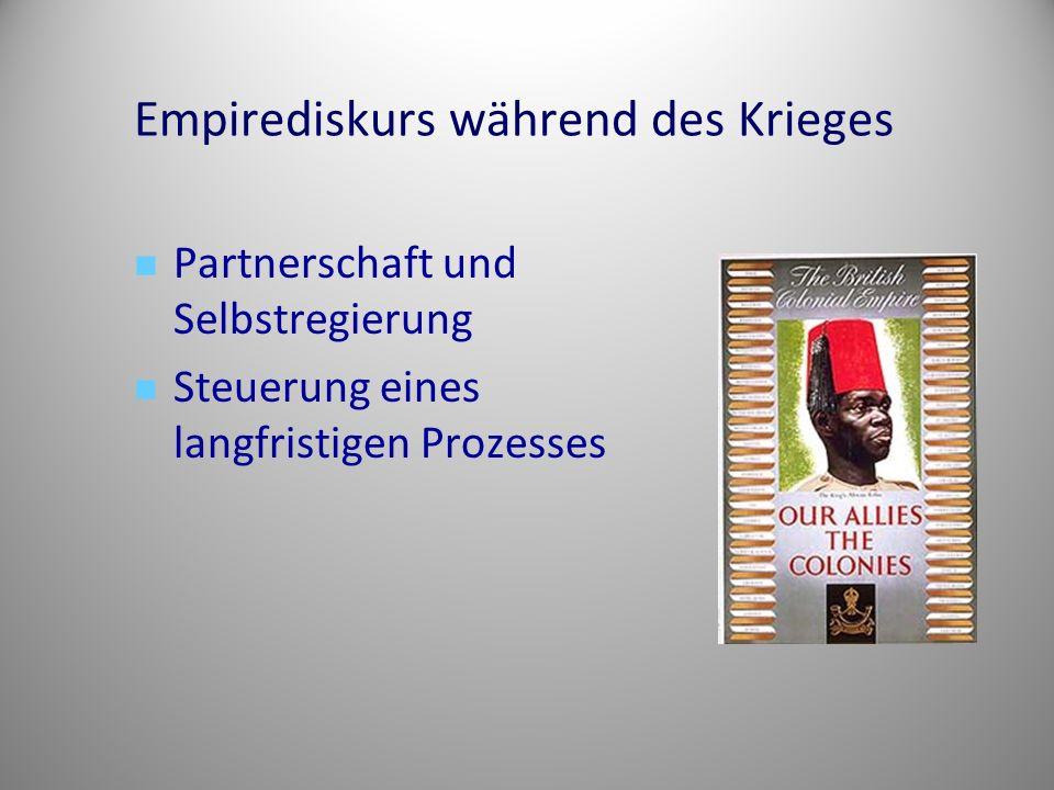 Empirediskurs während des Krieges Partnerschaft und Selbstregierung Steuerung eines langfristigen Prozesses