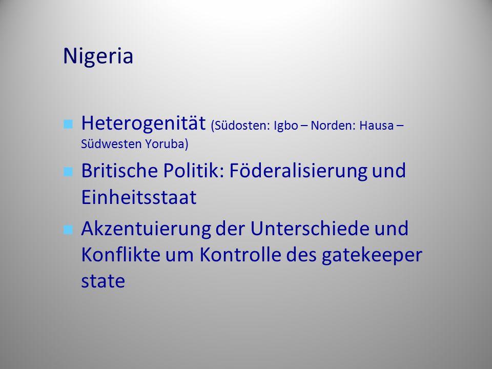 Nigeria Heterogenität (Südosten: Igbo – Norden: Hausa – Südwesten Yoruba) Britische Politik: Föderalisierung und Einheitsstaat Akzentuierung der Unter