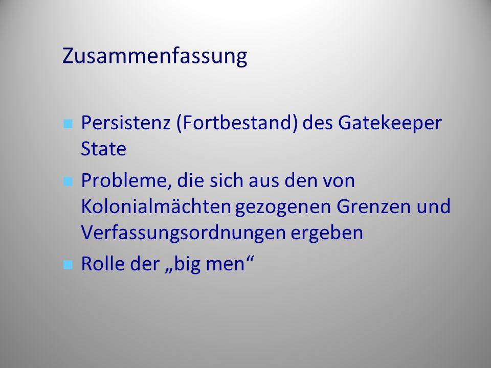 Zusammenfassung Persistenz (Fortbestand) des Gatekeeper State Probleme, die sich aus den von Kolonialmächten gezogenen Grenzen und Verfassungsordnunge