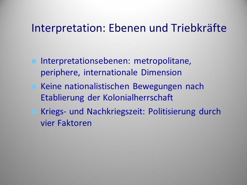 Interpretation: Ebenen und Triebkräfte Interpretationsebenen: metropolitane, periphere, internationale Dimension Keine nationalistischen Bewegungen na