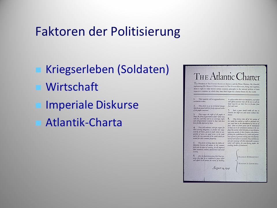 Faktoren der Politisierung Kriegserleben (Soldaten) Wirtschaft Imperiale Diskurse Atlantik-Charta