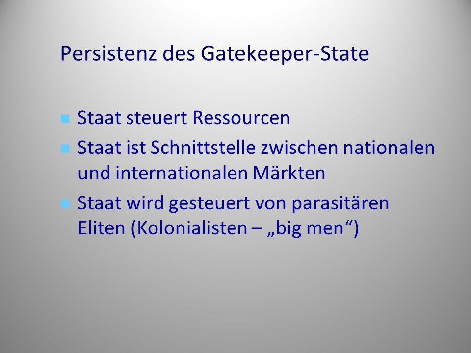 Persistenz des Gatekeeper-State Staat steuert Ressourcen Staat ist Schnittstelle zwischen nationalen und internationalen Märkten Staat wird gesteuert