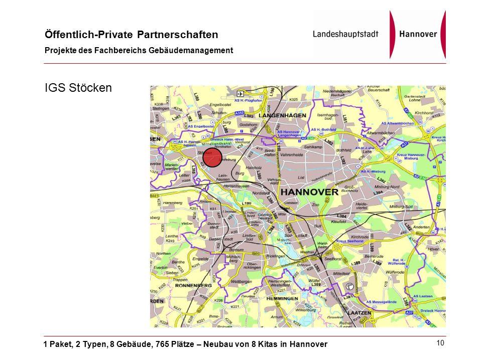 1 Paket, 2 Typen, 8 Gebäude, 765 Plätze – Neubau von 8 Kitas in Hannover Öffentlich-Private Partnerschaften Projekte des Fachbereichs Gebäudemanagement 10 IGS Stöcken