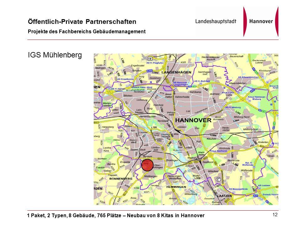 1 Paket, 2 Typen, 8 Gebäude, 765 Plätze – Neubau von 8 Kitas in Hannover Öffentlich-Private Partnerschaften Projekte des Fachbereichs Gebäudemanagement 12 IGS Mühlenberg
