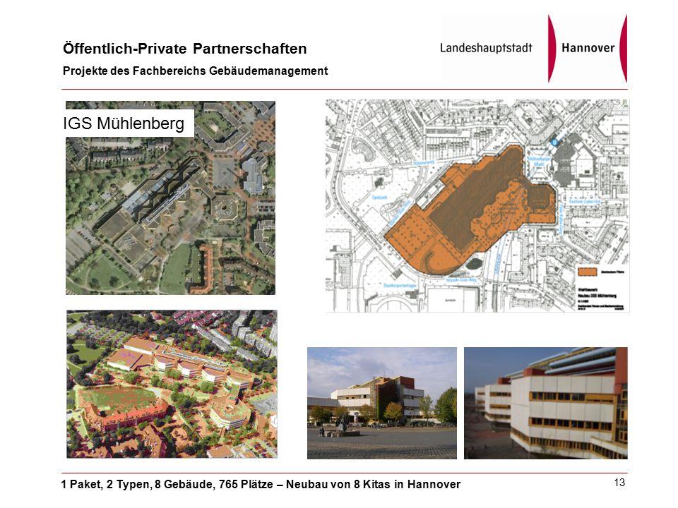 1 Paket, 2 Typen, 8 Gebäude, 765 Plätze – Neubau von 8 Kitas in Hannover Öffentlich-Private Partnerschaften Projekte des Fachbereichs Gebäudemanagement 13 IGS Mühlenberg