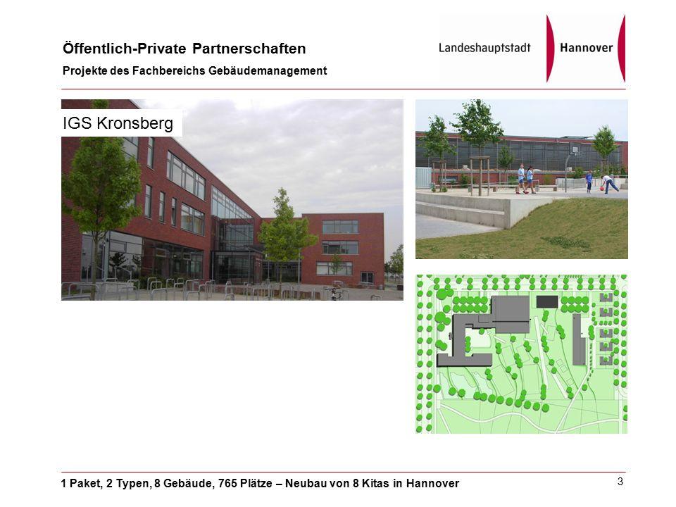 1 Paket, 2 Typen, 8 Gebäude, 765 Plätze – Neubau von 8 Kitas in Hannover Öffentlich-Private Partnerschaften Projekte des Fachbereichs Gebäudemanagement 3 IGS Kronsberg