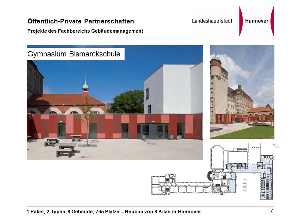 1 Paket, 2 Typen, 8 Gebäude, 765 Plätze – Neubau von 8 Kitas in Hannover Öffentlich-Private Partnerschaften Projekte des Fachbereichs Gebäudemanagement 8 IGS List / Gymnasium Leibnizschule
