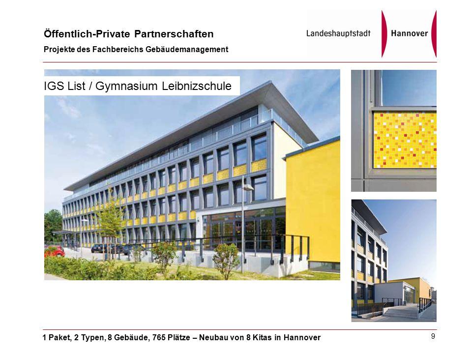 1 Paket, 2 Typen, 8 Gebäude, 765 Plätze – Neubau von 8 Kitas in Hannover Öffentlich-Private Partnerschaften Projekte des Fachbereichs Gebäudemanagement 9 IGS List / Gymnasium Leibnizschule