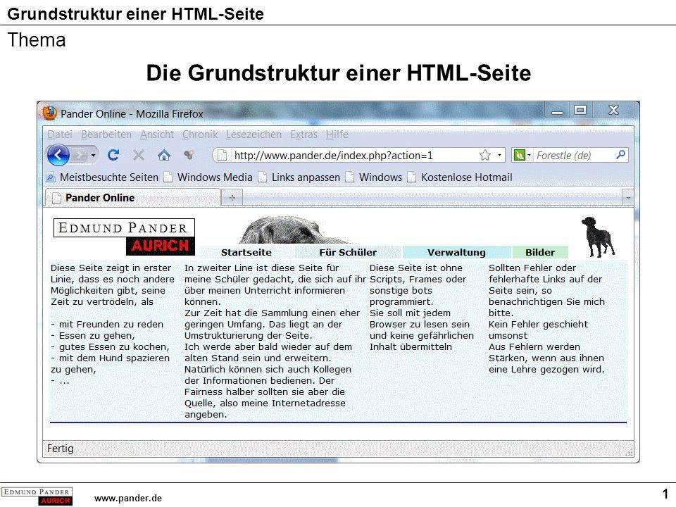 Grundstruktur einer HTML-Seite www.pander.de 2 Der Quelltext oder die Programmierung HTML Grundkurs Hier steht der Inhalt des Textes HTML Grundkurs Hier steht der Inhalt des Textes