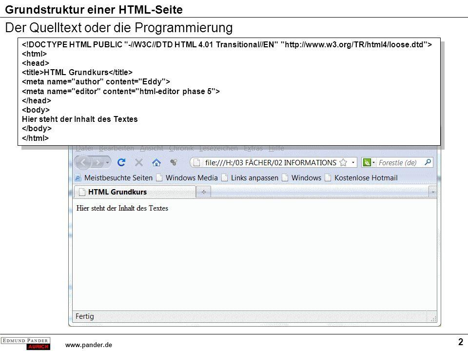 Grundstruktur einer HTML-Seite www.pander.de 3 Dokumenttyp-Deklaration [Hier] ist geregelt, welche Elemente ein Dokument vom Typ HTML enthalten darf Rechtschreibung von HTML HTML Grundkurs Hier steht der Inhalt des Textes HTML Grundkurs Hier steht der Inhalt des Textes