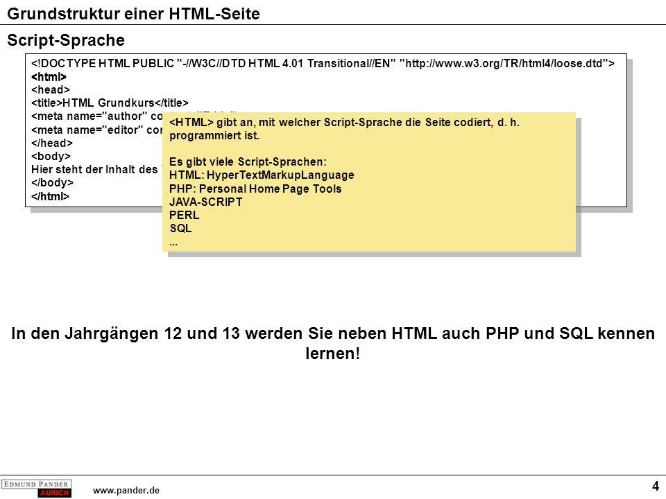 Grundstruktur einer HTML-Seite www.pander.de 4 Script-Sprache HTML Grundkurs Hier steht der Inhalt des Textes HTML Grundkurs Hier steht der Inhalt des Textes gibt an, mit welcher Script-Sprache die Seite codiert, d.