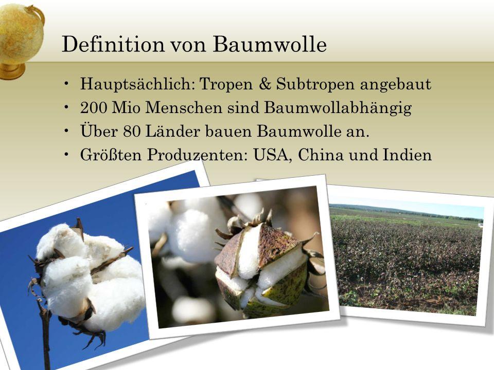 Definition von Baumwolle Hauptsächlich: Tropen & Subtropen angebaut 200 Mio Menschen sind Baumwollabhängig Über 80 Länder bauen Baumwolle an. Größten